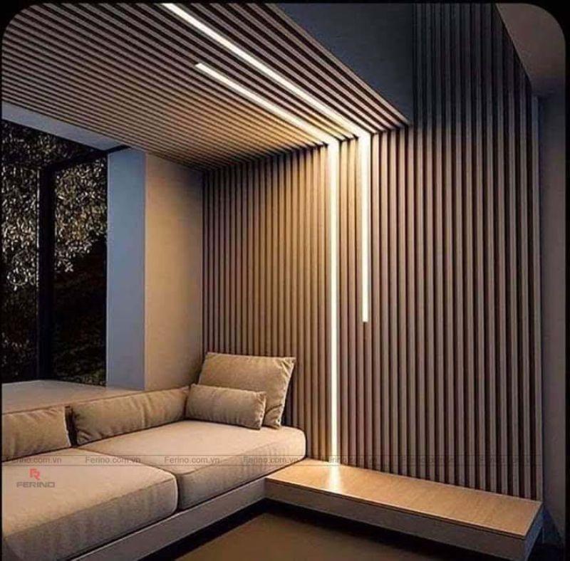 Trang trí lam gỗ nhựa cho phòng khách