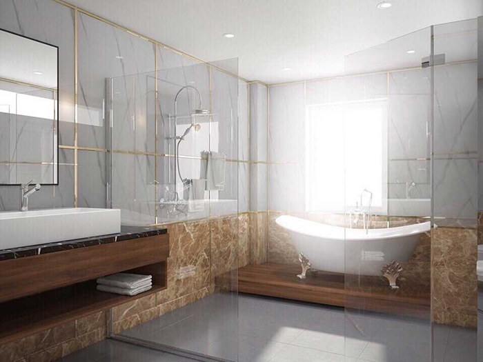 Thiết kế phòng tắm sang chảnh với đá hoa cương PVC