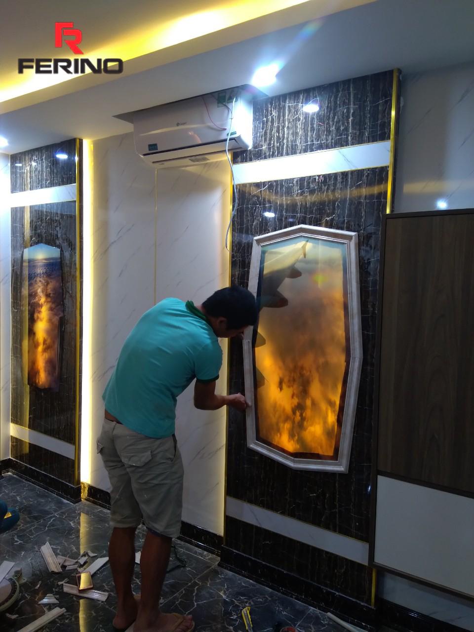 Công trình thi công tấm pvc vân đá tại Nuru Massage Hà Nội