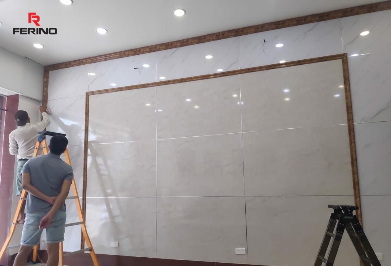 Công trình thi công tấm nhựa giả đá nhà chị Linh tại Long Biên - Hà Nội