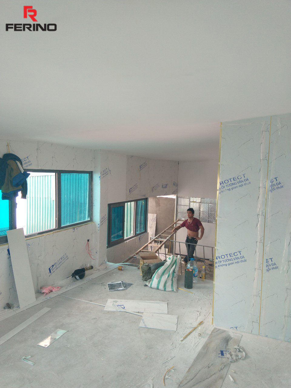 Công trình thi công tấm nhựa giả đá tại nhà bác Lợi Cầu Giấy, Hà Nội