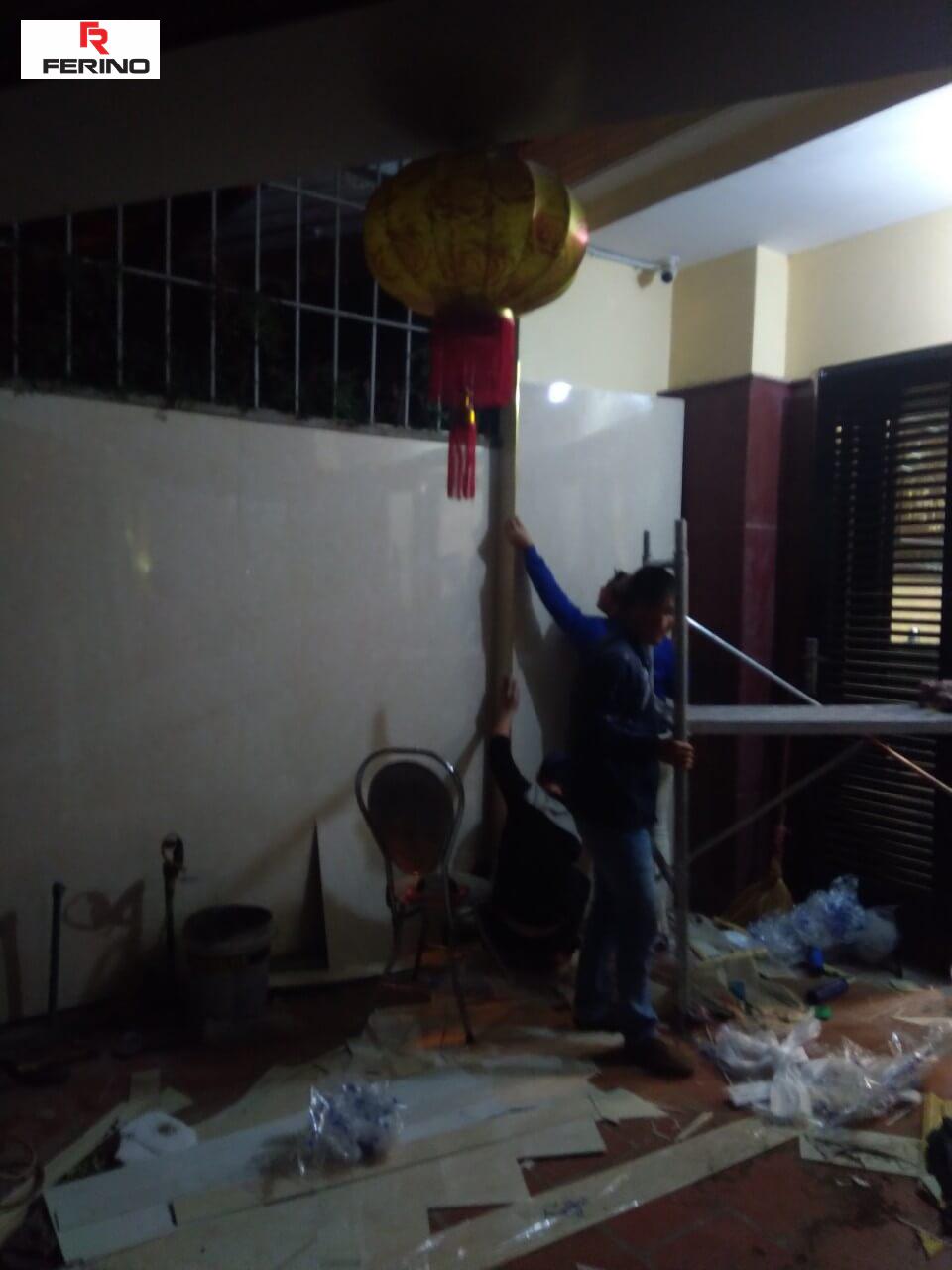 Thi công tấm ốp pvc giả đá nhà anh Hải 105 Tôn Đức Thắng