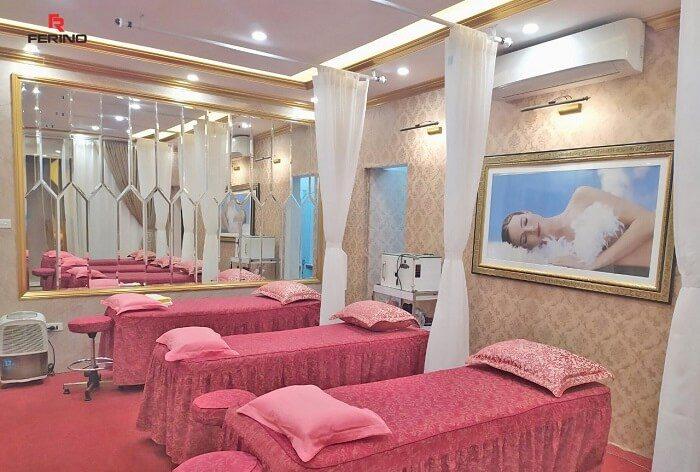 Ốp trang trí phòng spa bằng tấm PVC vân đá tại 61C Quang Trung, Hà Nội