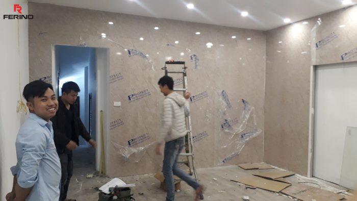 Ốp trang trí phòng spa tấm PVC vân đá tại 61C Quang Trung, Hà Nội