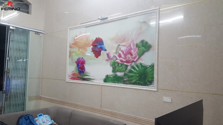 Thi công tấm ốp pvc và tranh 3d phòng khách 275 Nguyễn trãi, thanh xuân, Hà Nội