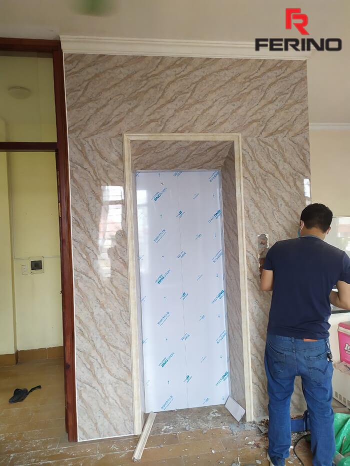 Công trình thi công mặt thang máy bằng tấm nhựa PVC vân đá tại 44 An Hòa