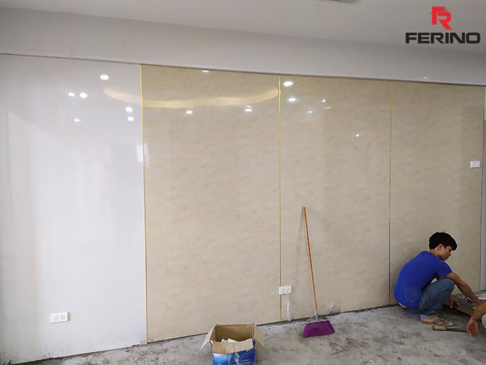 Thi công tấm PVC vân đá ốp tường tại Nguyễn Chánh Cầu Giấy Hà Nội